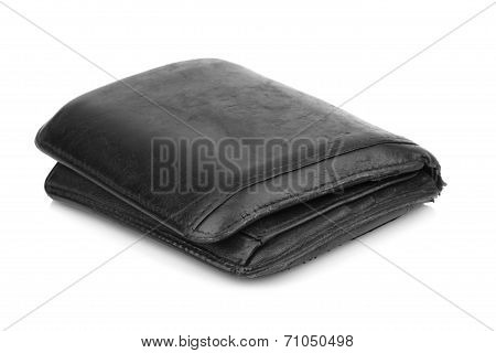 Old Grunge Wallet Isolated On White Background