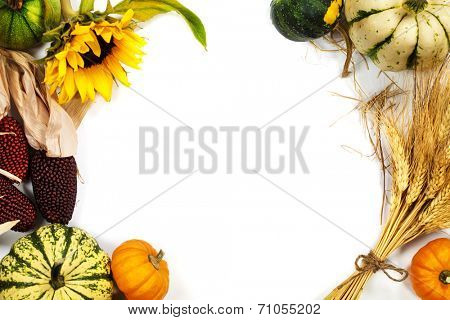 Autumn frame over white. Thanksgiving day, harvesting  or autumn concept