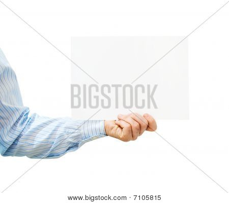 Pure White Card In Man's Hand