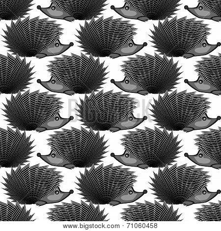 Design Monochrome Seamless Diagonal Pattern. Funny Hedgehogs Background