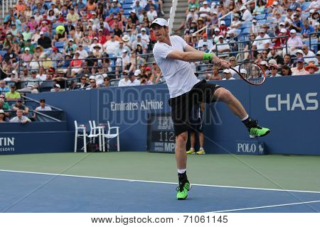 Grand Slam Champion Andy Murray during third round match at US Open 2014