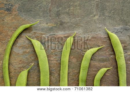 pods of fresh green French beans against slate rock background