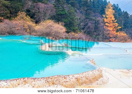 Beautiful Clear Water With Blue Calcification Pond
