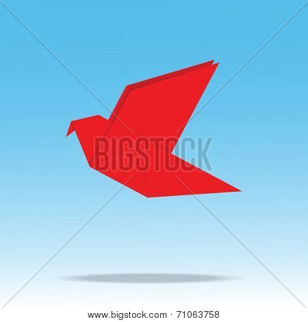 Origami Paper Bird On Blue Background
