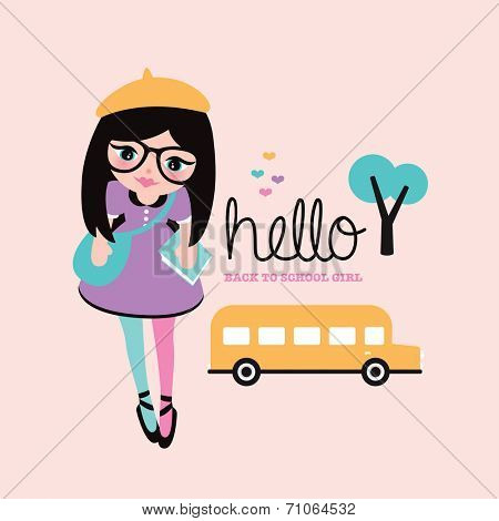 Fun kids back to school girl illustration and school bus template postcard cover design in vector