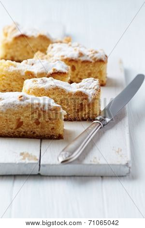Crumb Cake on a Chopping Board