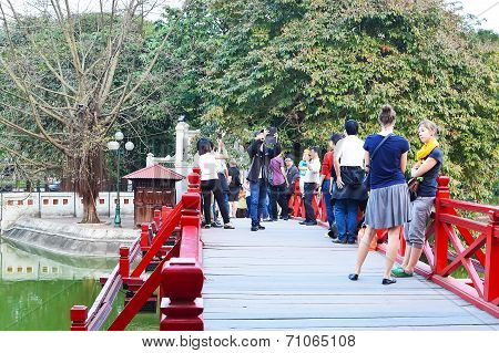 Famous Red Bridge In Hanoi