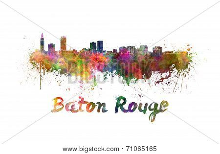 Baton Rouge Skyline In Watercolor