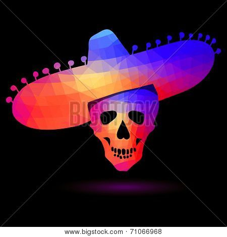 Colorful geometric skull in sombrero