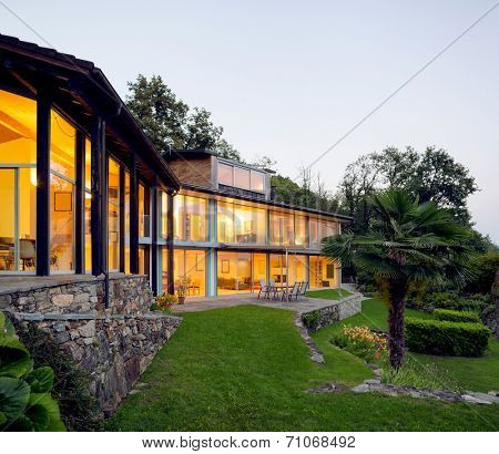 Landscape with alight villa