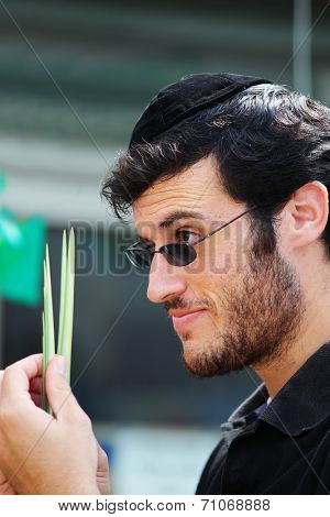 BNEI- BRAK, ISRAEL- SEPTEMBER 22, 2010: The young religious Jews in a skullcap are choosing palm and smile at the basaar on the eve of Sukkoth. This was Sukkoth market