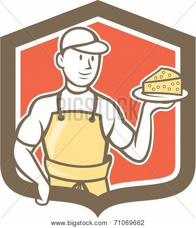 Cheesemaker Holding Parmesan Cheese Cartoon