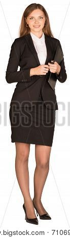 Business woman holding a paper holder and pen