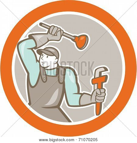 Plumber Wielding Plunger Wrench Circle Cartoon