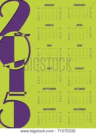 Simple Portrait Calendar For 2015