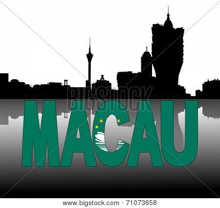 Macau skyline reflected with flag text vector illustration