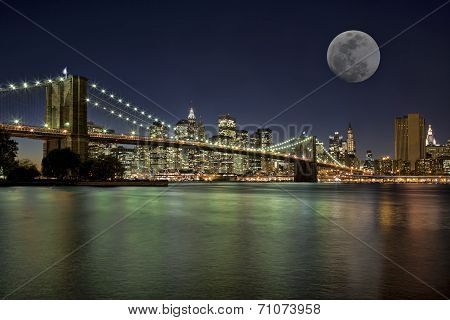 Moonrise In New York City