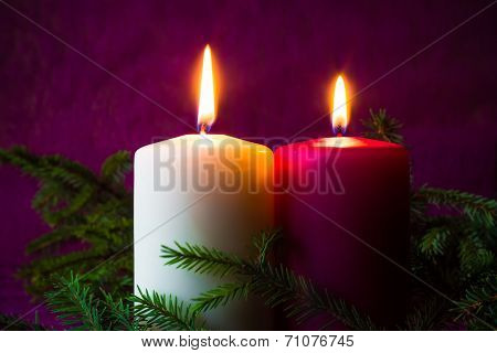 Christmas Ornaments Lighted Candles Spruce Twigs