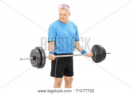 Mature man exercising with a heavy barbell isolated on white background