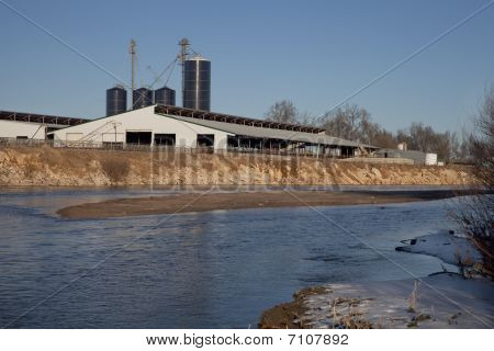 Cattle Ranch Buildings On River Shore