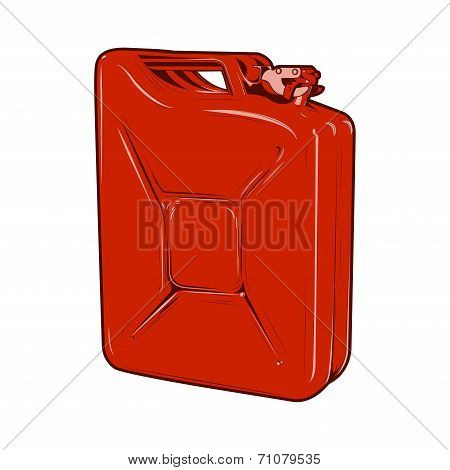 Red Jerrycan Isolated On A White Background. Color Line Art. Retro Design. Vector Illustration.