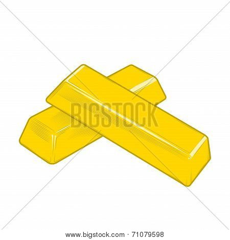 Gold Bars Isolated On A White Background. Color Line Art. Retro Design. Vector Illustration.