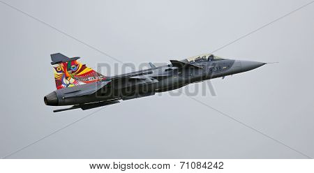 Saab JAS 39 Gripen jet during flight demonstration
