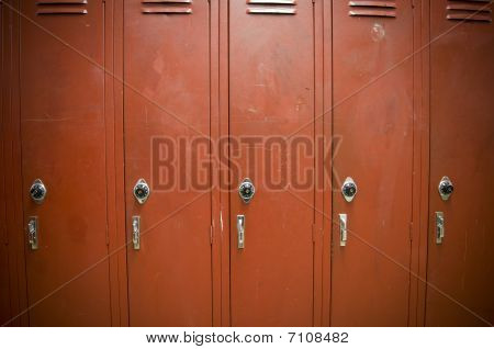 Row Of Old Red Lockers