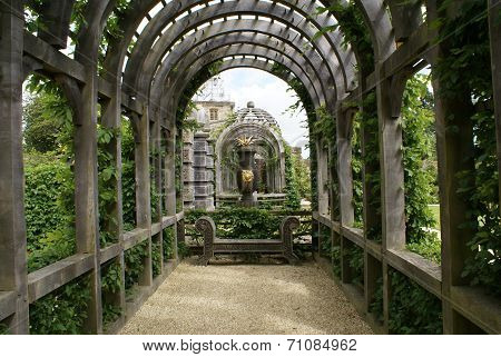Timber arched way and bench