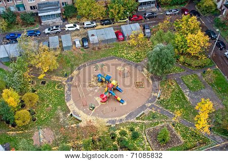 Playground In Autumn Top View