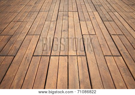 Wooden Floor Perspective. Detailed Background Photo Texture