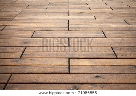 Brown Wooden Floor Perspective. Background Photo Texture