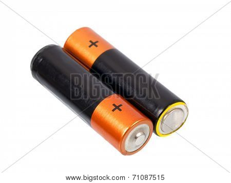 A set a of AA size batteries on white background