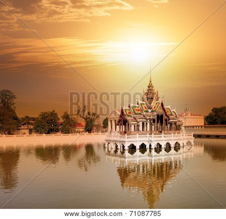 Bang Pa In ancient palace, former royal summer residence of Thai King near Ayutthaya and Bangkok, Thailand at sunset