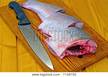 Fresh Silver Carp And Kitchen Knife