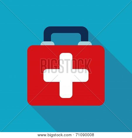 First Aid Kit , Flat Style Icon With Long Shadows