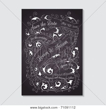 Wedding Invitation Card - Typography and Calligraphic Design - in vector