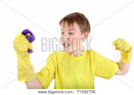 Kid With Bath Sponge