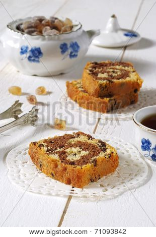 Coffee And Chocolate Marble Cake