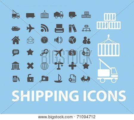 shipping isolated icons, signs, illustrations, silhouettes, vectors set