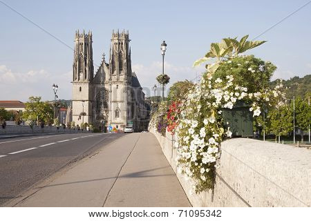 Bridge And Cathedral Of Pont A Mousson