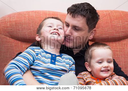 Happy Children Boys And Daddy