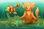 stock photo of cunning  - yoga cat sitting under water and watchin on the fish - JPG