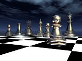 stock photo of chessboard  - Computer generated 3D illustration with chessboard and chess figures against a night sky - JPG
