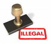 pic of illegal  - Close up of rubber stamp  - JPG