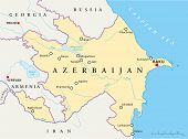 stock photo of shaky  - Azerbaijan Political Map with capital Baku - JPG