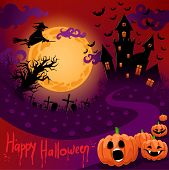 foto of yellow castle  - beautiful poster for Halloween with a ghostly castle in the moonlight - JPG
