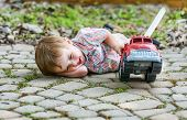 picture of fire truck  - Boy and Toy Fire Truck series - JPG