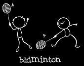 foto of badminton player  - Illustration of two men playing badminton - JPG