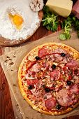stock photo of salami  - Pizza with Ham and Salami - JPG